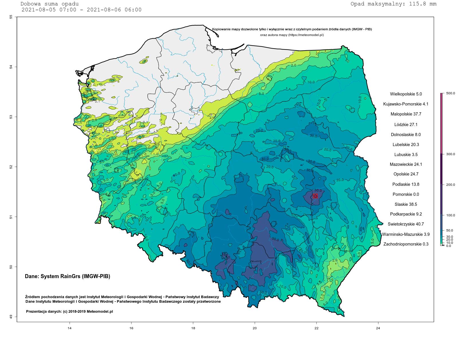 Źródło danych: IMGW-PIB; autor mapy: https://meteomodel.pl